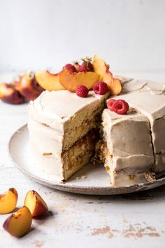 Peach Ricotta Layer Cake with Browned Butter