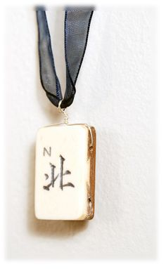 EARTH AMULET necklace: North Wind Mahjong Tile on Navy blue ribbon Bone and Bamboo
