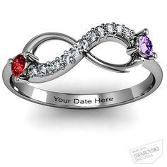 What a cool idea! Infinity Ring with his and hers birthstones, and anniversary date. Double Stone Infinity Accent Ring