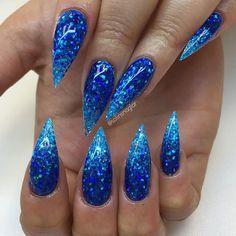 Blå glitterombre #lillynails