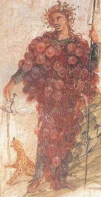 "Bacchus as a grape cluster from Pompeii, National Museum, Naples. 68-79 A.D. - go to see Wild Rose's ""God of Wine"" board! http://pinterest.com/wildrosewoman/god-of-wine/"