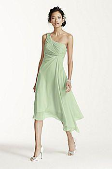 Short One Shoulder Crinkle Chiffon Dress F15608