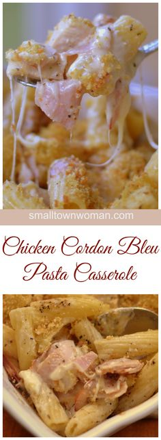 This Easy Chicken Cordon Bleu Pasta Casserole is sure to become one of your family favorites.  It combines tender chicken, sweet ham, Swiss cheese, rigatoni pasta and a perfect blend of spices all in a cream sauce topped with fresh ground croutons.
