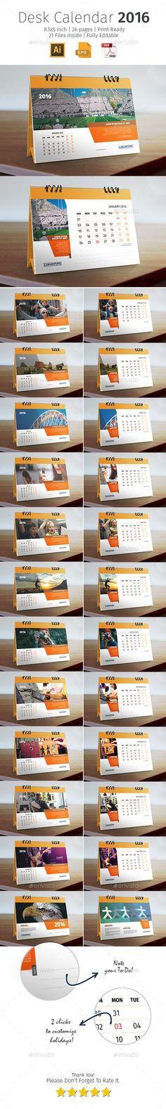 2016 Desk Calendar Template #design Download: http://graphicriver.net/item/2016-desk-calendar/12604827?ref=ksioks