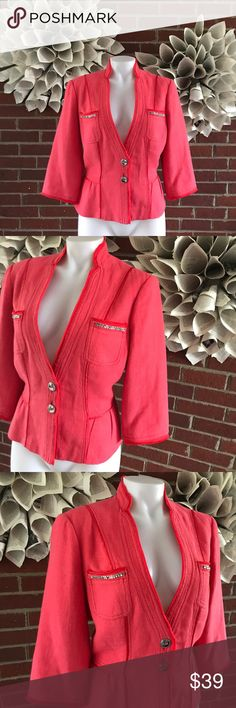 WHBM Linen Blend Peplum Embellished Blazer Please see photos for all measure! Missing one embellishment from pocket. See photos for reference. Sorry I do not model/trade!! This item comes from a smoke free, pet friendly home!! No rips, holes or stains to note!! I ship Monday-Friday to ensure quick delivery (orders placed after 7am will not be processed until the following day). Orders placed Saturday/Sunday will not be processed until Monday morning :)! Thanks for shopping my closet!!y ai7…