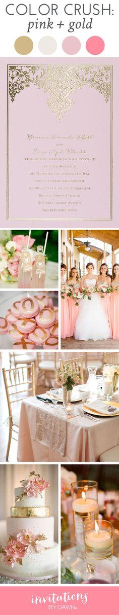 Wedding Color Crush: Pink & Gold #goldfoil #pinkwedding