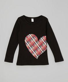 Loving this Black & Red Plaid Heart Tee - Toddler & Girls on #zulily! #zulilyfinds