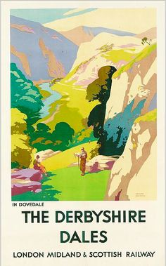 Charming travel poster for Derbyshire Posters Uk, Train Posters, Railway Posters, Retro Posters, British Travel, British Seaside, Tourism Poster, Nostalgia, Derbyshire