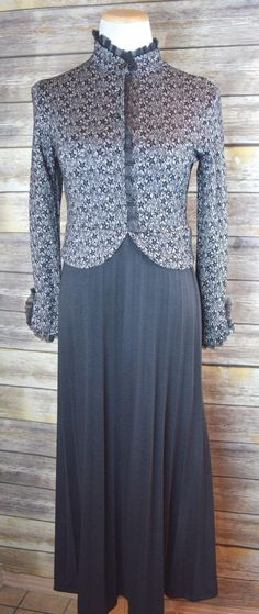22adb49135 Vintage 60s Lace Trim Silver Black High Neck Knit Long Sleeve Hostess  Dress. by