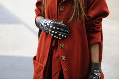 Studded leather gloves with a ladylike coat? Perfection.