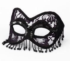Deluxe Black Mardi Gras Mask