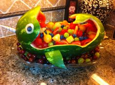 Narwhal watermelon boat - Ahoy it's a Boy baby shower