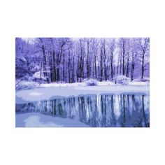 Blue Winter Pond Stretched Canvas Prints - This fine art wrapped canvas print presents a seasonal winter landscape in shades of blue, violet, gray, white and purple. The trees are bare. Ice covers part of the water but lovely reflections of trees, clouds and sky shine through. Snow surrounds the pond. From BeBops! Check out her other great designs @ www.zazzle.com/bebops+gifts?rf=238155573613991097&tc=pinterest #winterlandscapecanvas #baretreesprint #reflectiononwaterprint