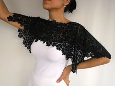 Lace shoulder wrap dark navy blue ultramarine by mammamiaeme, $33.00