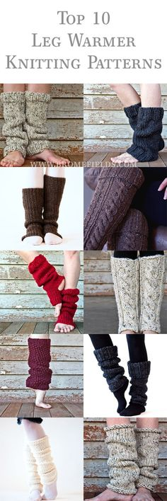 The Top 10 Leg Warmer Knitting Patterns by Brome Fields. Quick and easy knitting patterns to make soft and comfortable gifts to others or to yourself. Easy Knitting Patterns, Loom Knitting, Knitting Socks, Free Knitting, Knitting Projects, Crochet Patterns, Start Knitting, Knitted Boot Cuffs, Knit Leg Warmers