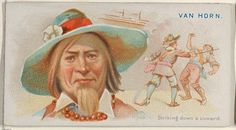 """Van Horn, Striking Down a Coward, from the """"Pirates of the Spanish Main"""" series (N19), Allen & Ginter Brand Cigarettes, c1888."""