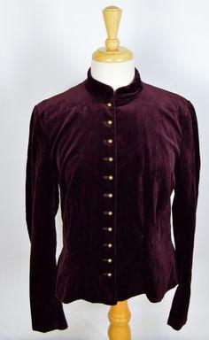 Lauren Ralph Lauren Women's Size 14 Purple Velvet Jacket Brass Buttons #LaurenbyRalphLauren #BasicJacket #Casual