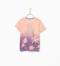 """Palm tree T - shirt with """"Hello weekend"""" text - Boy - NEW THIS WEEK 