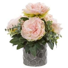 With a ceramic vase included, this peony and eucalyptus artificial arrangement features dusty green eucalyptus plants that bring depth and life to the soft pink peony blooms. This beautiful arrangement would look fabulous placed on your kitchen islan Artificial Floral Arrangements, Artificial Peonies, Silk Floral Arrangements, Artificial Plants, Peony Arrangement, Edible Arrangements, Fake Plants Decor, Faux Plants, Plant Decor