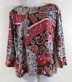 Ruby Road Blouse Ethnic Pattern Black Red Orange Cotton Size Large #RubyRd #Blouse #Casual
