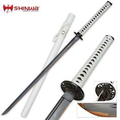 Shinwa White Knight Katana Swords for sale have a folded Damascus steel blade. Buy this popular sword that has a white scabbard and real ray skin. Katana Swords, Samurai Swords, Knives And Swords, Damascus Sword, Damascus Steel, Tactical Pocket Knife, Tactical Knives, Zombie Apocalypse Weapons, Ninja Sword