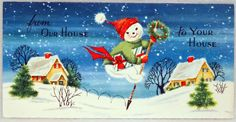 #733 60s Snowman on a Pogo Stick! Vintage Christmas Card-Greeting