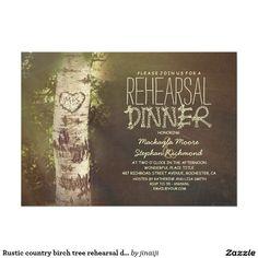 Rustic country birch tree rehearsal dinner