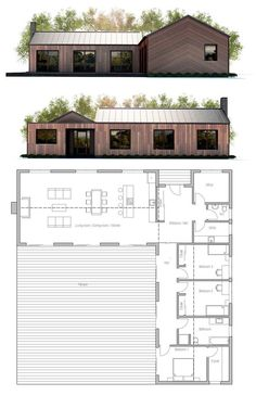 Tiny House Plans 451837775091548281 - Small House Plan Source by emmanuelhanley Modern Architecture House, Architecture Plan, Modern House Design, Layouts Casa, House Layouts, Small House Plans, House Floor Plans, L Shaped House Plans, Casas Containers