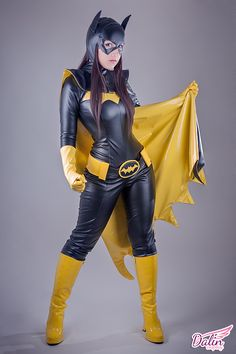 Batgirl suit cut to displayed nude tits