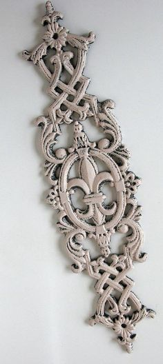 Pink FleurDeLis Cast Iron Scrolly Rococco by VintageFrenchRoses, $20.00