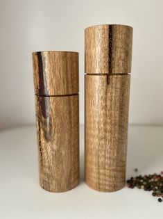 Feature Pepper/Salt grinders handcrafted in Western Australian from beautiful fiddleback Marri timber.