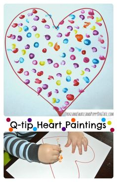 Q-tip Heart Paintings for kids. Great valentine's day craft for kids.