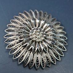 SILVER FILIGREE brooch pin. filigree flower. by PartsForYou