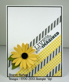 handmade card ... clean design lines on the diagonal ... yellow and black on white ... black and white washi tape alternates with yellow gingham print washi tape ... dynamic look ... bright yellow daisy with a black center ... like this card!!