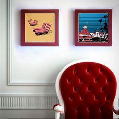 "Gallery: Pop series (from left to right ""Chaise del Coronado"", ""Hotel del Coronado"" (2015) 12 x 12 inch, digital art - Giclee print on enhanced matte with glass framed. Stain red, 14 x 14 inch. Signed by Jon Savage ---------------------------------- #art #artist #popart #popartist #digitalart #contrmporary #contemporaryart #modernart #hoteldelcoronado #chaise #beach #coronado #sandiego #california #jonsavagegallery"