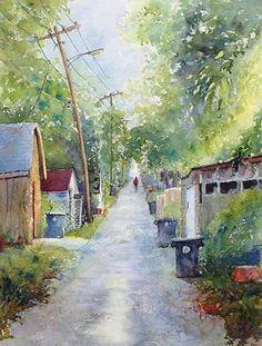 """The Alley"" - 12x9"" Original Watercolor by Judy Moore Mudd"