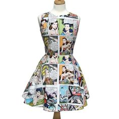 Hey, I found this really awesome Etsy listing at https://www.etsy.com/listing/191679787/comic-strip-lt-white-skater-dress