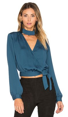 L'Academie The High Collar Wrap em Teal Long Skirt Outfits, Casual Outfits, Fashion Outfits, Womens Fashion, Blouse Styles, Blouse Designs, High Collar Blouse, Collar Top, Wrap Blouse
