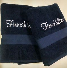 Bath towels. Turkish cotton, with a Finnish boat name embroidered on them