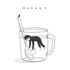 Week of sleeping cups on Behance illustration by Ilya Kazakov