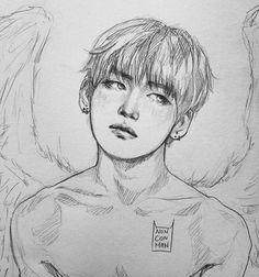 Que fanart maravilhosaaa Fanart Bts, Taehyung Fanart, Bts Taehyung, Bts Blog, Kpop Drawings, Bts Fans, K Pop, Drawing Sketches, Art Inspo