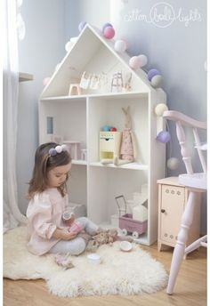cotton ball lights, Nadia in her room, maileg Baby Bedroom, Girls Bedroom, Girl Nursery, Nursery Ideas, Bedroom Ideas, Bedroom Decor, Cotton Ball Lights, Little Girl Rooms, Kid Spaces