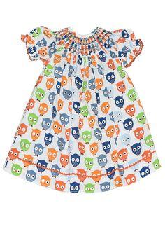 Girl's Hand Smocked Geometric Owl Print Bishop Dress