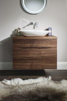 Glide II Bathroom Furniture Unit from Crosswater http://www.bauhaus-bathrooms.co.uk/product/glide-ii-american-walnut/glide-ii-70-unit-and-worktop-american-walnut/
