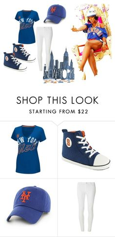 """New York Mets Lady Fan (Remy Ma Inspired)"" by lasoniabryant on Polyvore featuring G-III, Dorothy Perkins, New, Mets, WhiteJeggings, remyma and NewYorkMets"