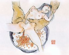 Makoto Aida aka 会田誠 (Japanese, b. Niigata Prefecture, Japan) - Bowl of Rice with Fresh Salmon Roe from Edible Artificial Girls, Mi-Mi Chan series, 2001 Watercolors and Indian Ink on Japanese Paper Makoto Aida, Ero Guro, Kawaii, Creepy Dolls, Japanese Prints, Japanese Paper, Sexy Cartoons, Traditional Paintings, Types Of Art