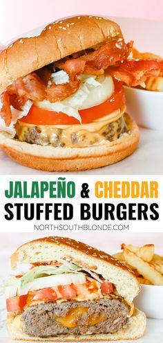 The ultimate treat for lunch or dinner this grilling season. A juicy and delicious stuffed burger recipe that's bursting with flavour! Homemade Burgers | Cheeseburger Recipe | Burger Recipes | Stuffed Burgers | Bacon Burgers | Cheesy | jalapenos | jalapeno and cheese | grilled | bbq recipes | grilling | bbq dinner | bbq lunch | Burger Recipes, Low Carb Recipes, Real Food Recipes, Great Recipes, Favorite Recipes, Healthy Recipes, Stuffed Burgers, Cheeseburger Recipe, Homemade Burgers