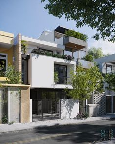 Design Discover D house Modern Tropical House, Tropical House Design, Tropical Houses, Narrow House Designs, Modern Exterior House Designs, Terrace House Exterior, Facade House, Tropical Architecture, Architecture Design