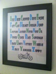 Make words for racecars instead :) Motorcycle nursery decor ABC's