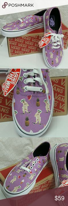VANS Authentic  (Pool Vibes, Dog) African Violet Brand New with Tags and box! Size 9 in womens! (7.5 mens) Size 8 womens (mens 6.5)  Fun Summer print!! ... Ask me anything! Vans Shoes